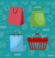 shopping bags with marketing set icons vector image