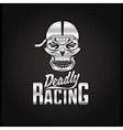 silver skull racer with flame glasses vintage vector image