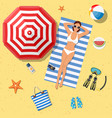 summer holidays on beach with sunbathing girl vector image vector image