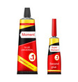 super and moment glue tubes realistic vector image vector image