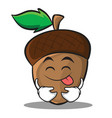 tongue out acorn cartoon character style vector image vector image