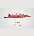 torun skyline in red vector image vector image