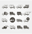 transport service logos set of icons on a gray vector image
