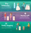 trying shop flat people banner set vector image vector image