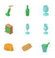 wine glass icons set isometric style vector image vector image