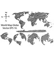 earth globe with world map detail line sketched vector image