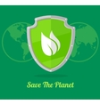 green shield with leaves vector image
