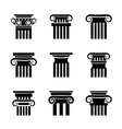 Ancient columns icons vector image