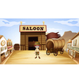 A young boy in front of a saloon bar vector image vector image