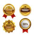 badges gold seal quality labels sale vector image