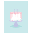 Birthday cake with glaze and candles vector image vector image