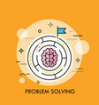 brain symbol placed inside circular maze concept vector image vector image