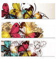 business cards set with butterflies and flowers vector image vector image