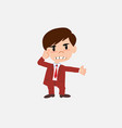 businessman is angry and points his head with vector image
