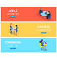businesspeople at working situations banner set vector image vector image