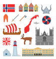 cartoon norwegian travel and tourism symbols set vector image