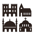 Cathedral church and mosque icons vector image vector image