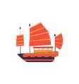Chines Junk Boat With Red Sail Simplified Icon vector image vector image
