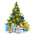 christmas fir tree with blue decorations vector image vector image