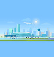 city airport cartoon flat vector image