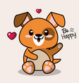 color background with cute kawaii animal dog vector image vector image
