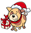 Cute puppy on christmas cartoon