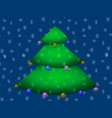 decorated christmas tree on blue background vector image vector image