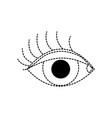 dotted shape vision eye with eyelashes style vector image