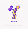 fatigue thin line icon tired man with clockwork vector image