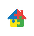 flat design concept of house shape puzzle pieces vector image vector image