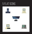 flat icon computer set of pc computer computing vector image vector image