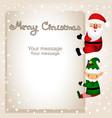 funny postcard with christmas elf and santa vector image vector image