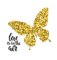 Glittering butterfly with text love is in the air vector image