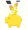 hand putting money in piggy bank vector image vector image