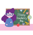 happy teachers day young female teacher vector image vector image