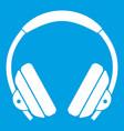 headphone icon white vector image vector image