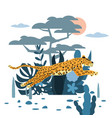 leopard jumping cute background plants and tree vector image vector image