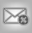 mail sign with cancel mark vector image vector image
