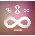 Paper Infinity Symbols on Pink Background vector image vector image
