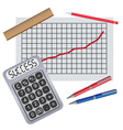 pens ruler and progress chart vector image