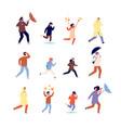 people in autumn happy active woman outdoor vector image vector image
