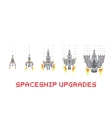 Pixel art style spaceship game upgrades set vector image vector image