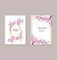 sakura themed wedding invitation set - text vector image vector image