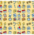 seamless pattern office suplly equipment elements vector image