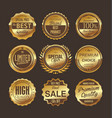 set gold and brown retro vintage labels vector image vector image