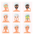 set young attractive well-groomed women using vector image