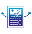 silhouette funny calculator object kawaii with vector image