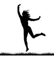 silhouette of woman jumping outdoor vector image vector image