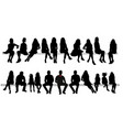 silhouette sitting people set vector image vector image