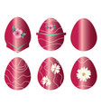 Six easter eggs set with dark pink colors vector image